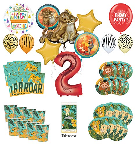 Lion King 2nd Birthday Party Supplies 16 Guest Decoration Kit with Simba, Nala and Friends Balloon Bouquet