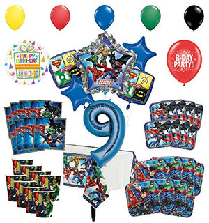 Justice League 9th Birthday Party Supplies 8 Guest Entertainment kit and Superhero Balloon Bouquet Decorations