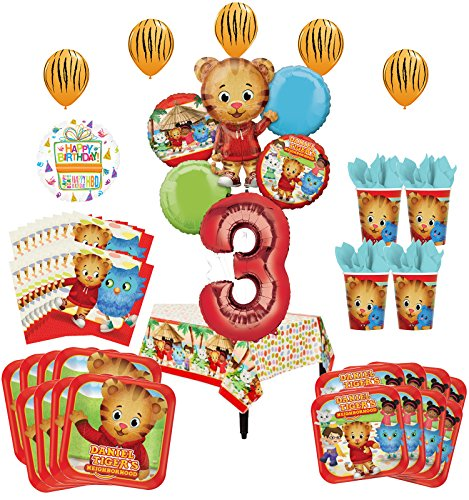 Daniel Tiger Neighborhood 3rd Birthday Party Supplies and 8 Guest 53pc Balloon Decoration Kit
