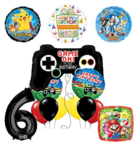 The Ultimate Video Game 6th Birthday Party Supplies and Balloon Decorations (Sonic, Super Mario and Pokemon)