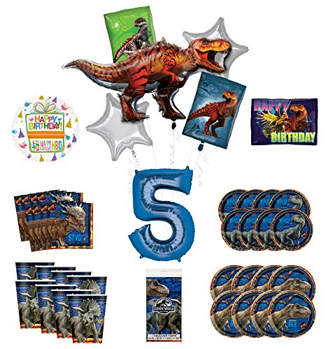 Mayflower Products Jurassic World 5th Birthday Party Supplies and 8 Guest Balloon Decoration Kit