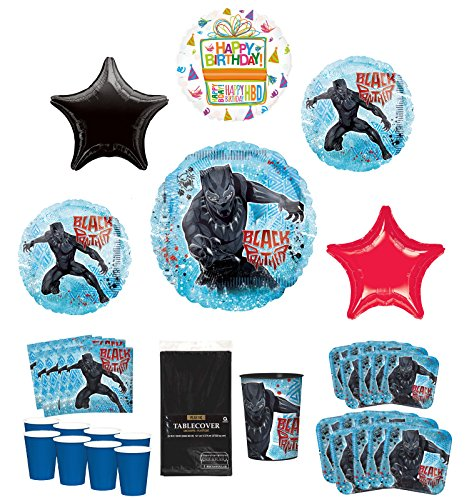 Black Panther Party Supplies 8 Guests Birthday Balloon Bouquet Decorations