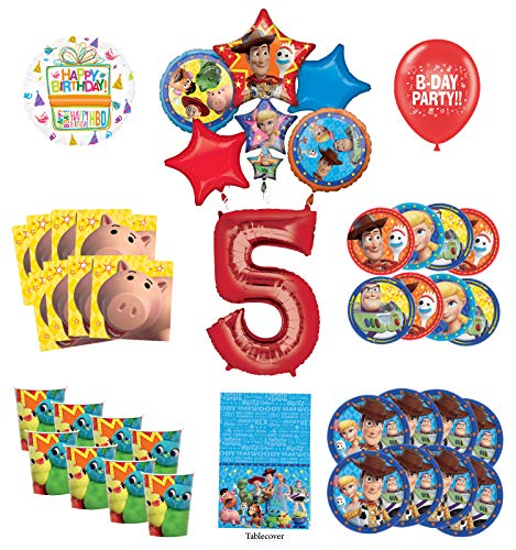 Toy Story 5th Birthday Party Supplies 16 Guest Decoration Kit with Woody, Buzz Lightyear and Friends Balloon Bouquet