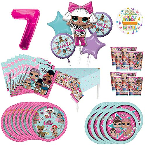 L.O.L. Surprise! 7th Birthday Party Supplies 8 Guest Decoration Kit and Balloon Bouquet