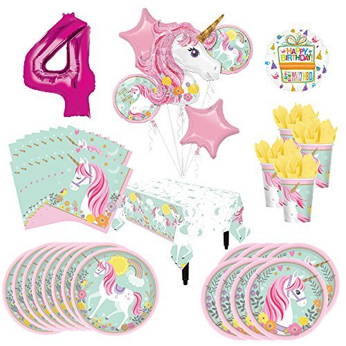 Magical Unicorn Party Supplies 8 Guests 4th Birthday Balloon Bouquet Decorations