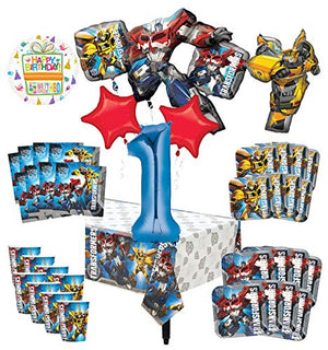 Transformers 1st Birthday Party Supplies 8 Guest Decoration Kit and Balloon Bouquet -
