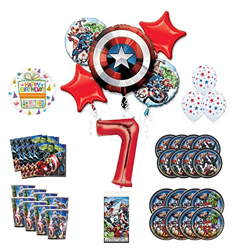 Mayflower Products Avengers 7th Birthday Party Supplies and 8 Guest Balloon Decoration Kit