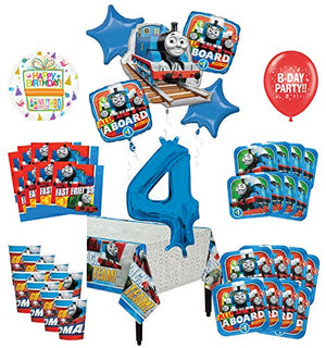 Mayflower Products Thomas The Train Tank Engine 4th Birthday Party Supplies 8 Guest Decoration Kit and Balloon Bouquet