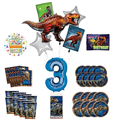 Mayflower Products Jurassic World 3rd Birthday Party Supplies and 8 Guest Balloon Decoration Kit