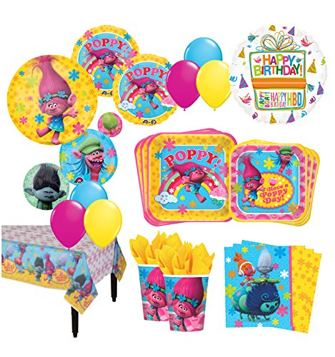 The Ultimate 8 Guest Trolls the Movie Birthday Party Supplies and Balloon Decoration Kit