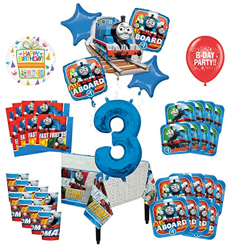 Mayflower Products Thomas The Train Tank Engine 3rd Birthday Party Supplies 8 Guest Decoration Kit and Balloon Bouquet