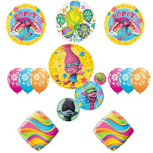 TROLLS Movie 12 pc Party Balloons Funkadelic Decoration Supplies Poppy extention kit