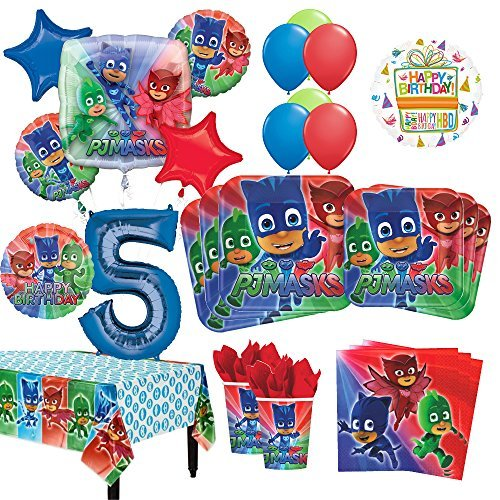 PJ Masks 5th Birthday Party Supplies 16 Guest Kit and Balloon Bouquet Decorations 96pc