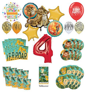 Lion King 4th Birthday Party Supplies 8 Guest Decoration Kit with Simba, Nala and Friends Balloon Bouquet