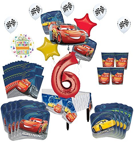 Disney Cars 6th Birthday Party Supplies 16 Guest Kit and Balloon Bouquet Decorations 94 pc
