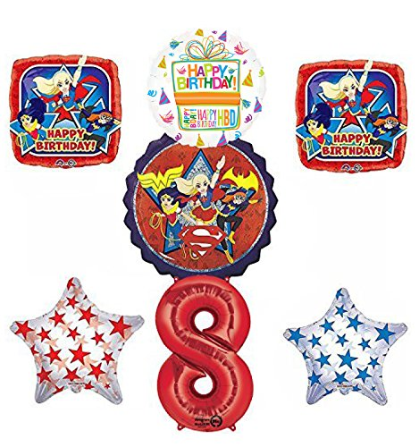 DC Super Hero Girls 8th Birthday Party Supplies and Balloon Decorations
