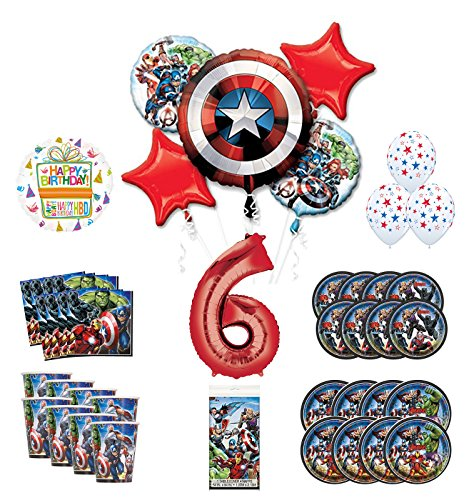 Mayflower Products Avengers 6th Birthday Party Supplies and 8 Guest Balloon Decoration Kit