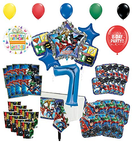 Justice League 7th Birthday Party Supplies 8 Guest Entertainment kit and Superhero Balloon Bouquet Decorations