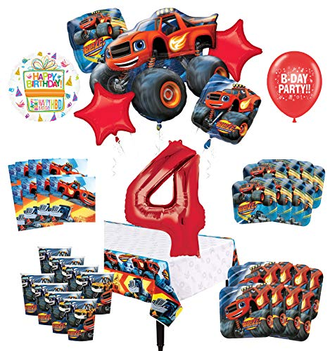 Mayflower Products Blaze and The Monster Machines 4th Birthday Party Supplies 8 Guest Decoration Kit and Balloon Bouquet