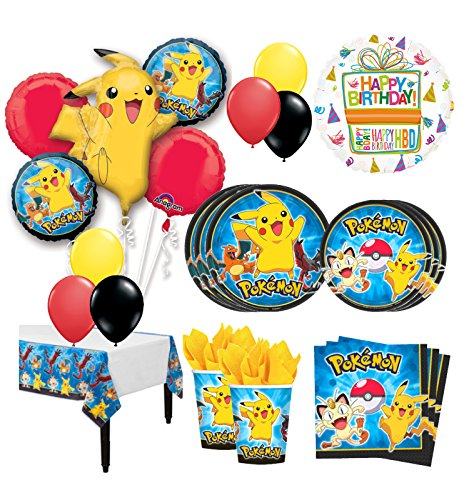 The Ultimate 8 Guest 53pc Pokemon Pikachu Birthday Party Supplies and Balloon Decoration Kit