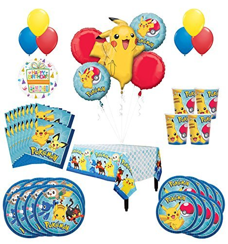 Pokemon Birthday Party Supplies and 16 Guest 94pc Balloon Decoration Kit