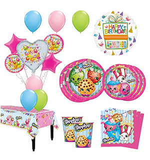 The Ultimate 16 Guest 94pc Shopkins Birthday Party Supplies and Balloon Decoration Kit
