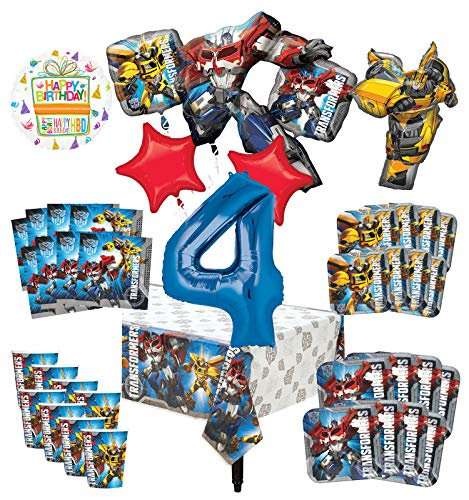 Transformers 4th Birthday Party Supplies 8 Guest Decoration Kit and Balloon Bouquet -
