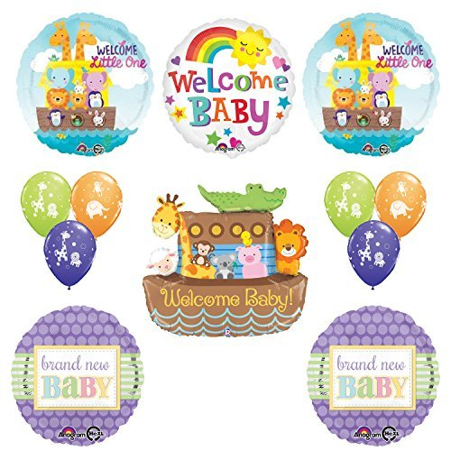 Betallic Noahs Ark Cute and Cuddly Jungle Animal Latex Welcome Baby Baby Shower Party Supplies and Balloon Decorations
