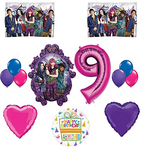 The Descendants Party Supplies and 9th Birthday Balloon Bouquet Decorations