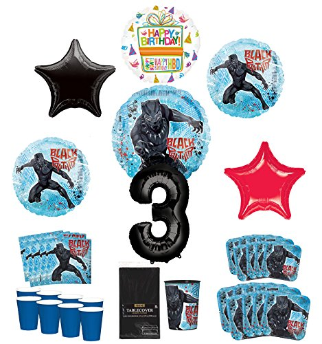 Black Panther Party Supplies 8 Guests 3rd Birthday Balloon Bouquet Decorations