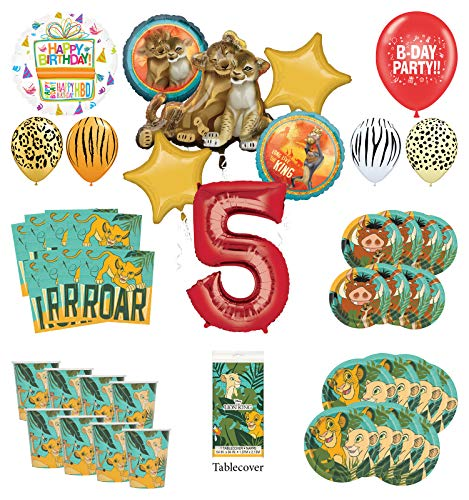 Lion King 5th Birthday Party Supplies 8 Guest Decoration Kit with Simba, Nala and Friends Balloon Bouquet