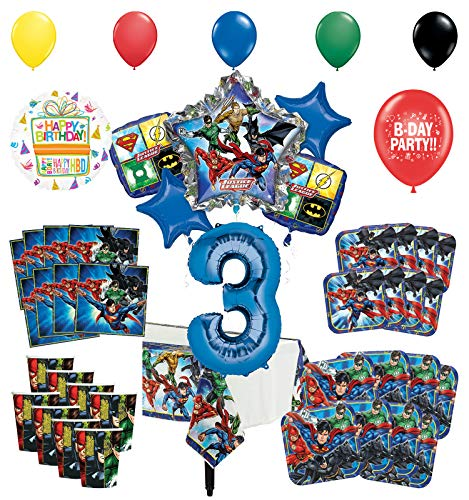 Justice League 3rd Birthday Party Supplies 8 Guest Entertainment kit and Superhero Balloon Bouquet Decorations