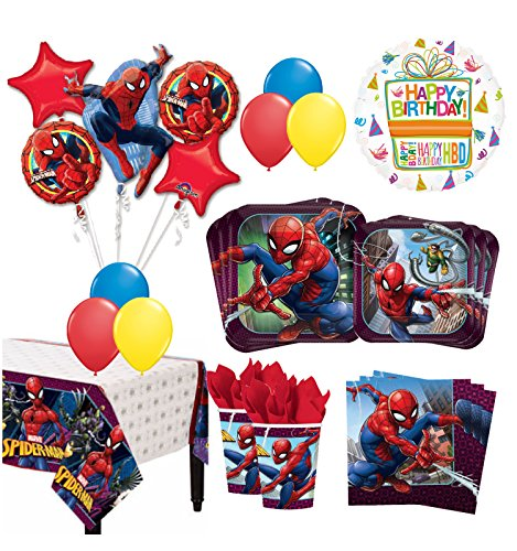 The Ultimate 16 Guest 94pc Spider-Man Birthday Party Supplies and Balloon Decoration Kit