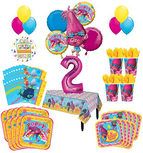 Trolls Poppy 2nd Birthday Party Supplies 16 Guest Kit and Balloon Bouquet Decorations 95 pc