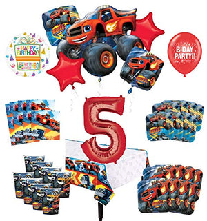 Mayflower Products Blaze and The Monster Machines 5th Birthday Party Supplies 8 Guest Decoration Kit and Balloon Bouquet