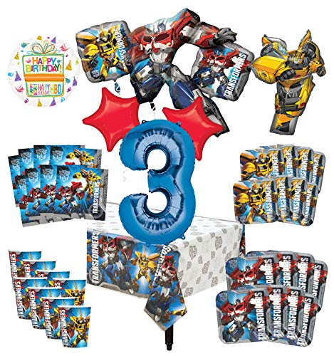 Transformers 3rd Birthday Party Supplies 8 Guest Decoration Kit and Balloon Bouquet -