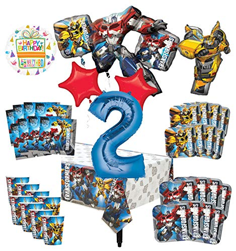 Transformers 2nd Birthday Party Supplies 8 Guest Decoration Kit and Balloon Bouquet