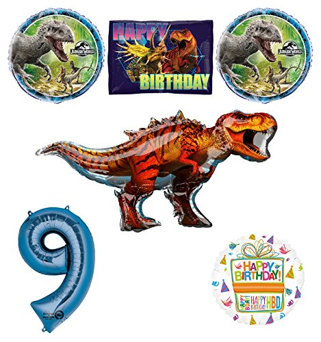 Jurassic World Dinosaur 9th Birthday Party Supplies and Balloon Decorations