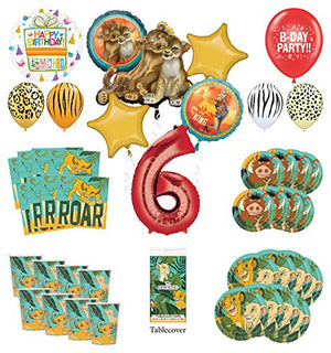 Lion King 6th Birthday Party Supplies 16 Guest Decoration Kit with Simba, Nala and Friends Balloon Bouquet