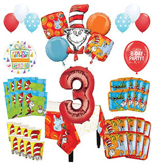 Mayflower Products Dr Seuss 3rd Birthday Party Supplies 16 Guest Decoration Kit and Balloon Bouquet