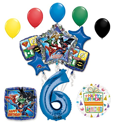 The Ultimate Justice League Superhero 6th Birthday Party Supplies and Balloon Decorations