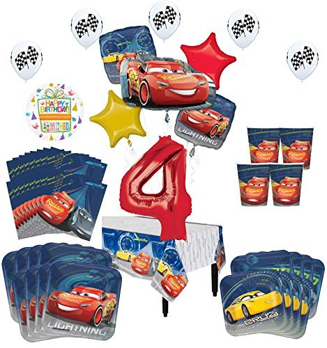 Disney Cars 4th Birthday Party Supplies 16 Guest Kit and Balloon Bouquet Decorations 94 pc