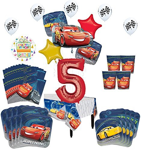 Disney Cars 5th Birthday Party Supplies 16 Guest Kit and Balloon Bouquet Decorations 94 pc