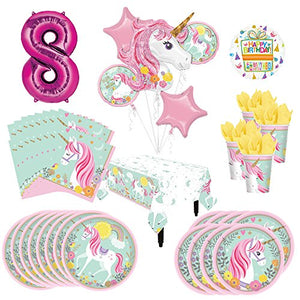 Magical Unicorn Party Supplies 8 Guests 8th Birthday Balloon Bouquet Decorations