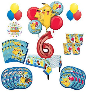 Pokemon 6th Birthday Party Supplies and 16 Guest 95pc Balloon Decoration Kit