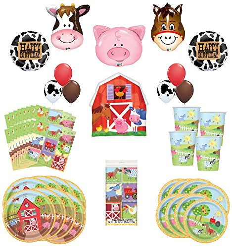 Farm Animal Party Supplies 8 Guests Birthday Balloon Bouquet Decorations