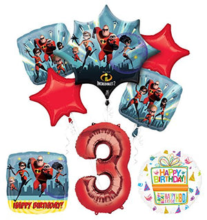 Incredibles 2 party supplies 3rd Birthday Balloon Bouquet Decorations