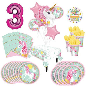 Magical Unicorn Party Supplies 8 Guests 3rd Birthday Balloon Bouquet Decorations