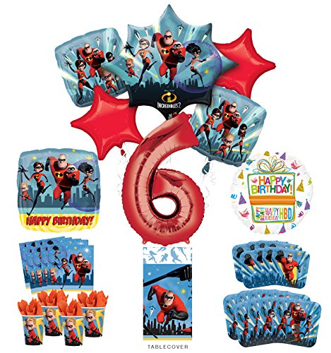 Incredibles Party Supplies 8 Guests 6th Birthday Balloon Bouquet Decorations
