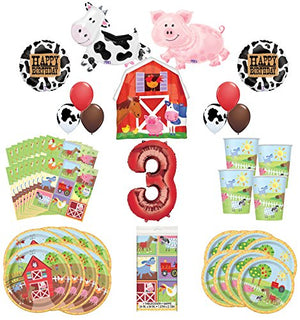Farm Animal Party Supplies 8 Guests 3rd Birthday Balloon Bouquet Decorations